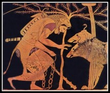 Heracles and Cerberus. detail from a Greek amphora. ca. 520-510.B.C